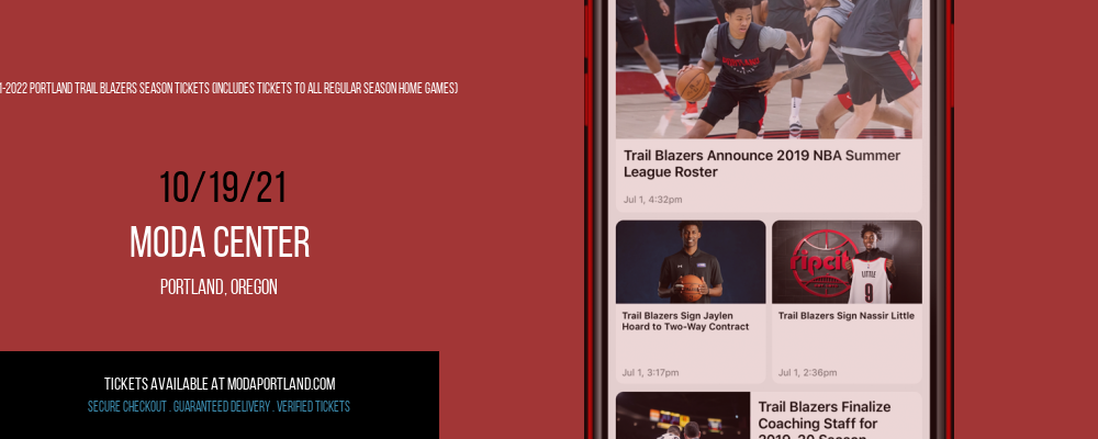 2021-2022 Portland Trail Blazers Season Tickets (Includes Tickets to All Regular Season Home Games) at Moda Center
